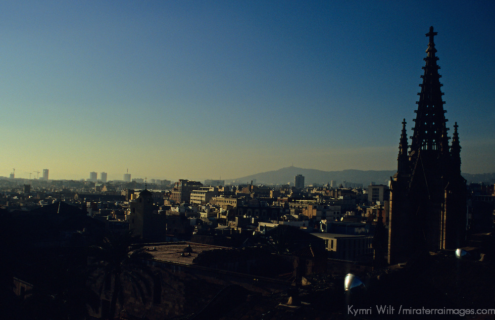 Europe, Spain, Barcelona. Rooftop view from the Barcelona Cathedral in the Gothic quarter.