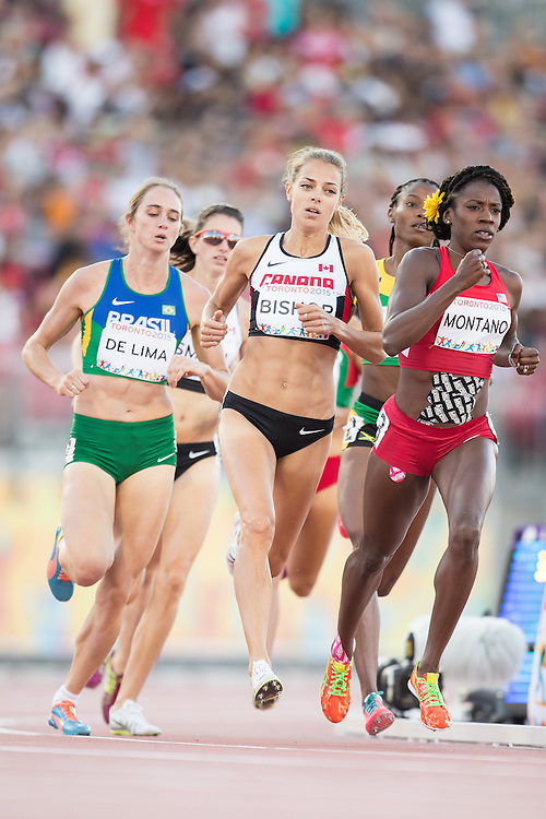 Melissa Bishop (C) of Canada runs in the women's 800 metres at the CIBC Athletics Stadium at the 2015 Pan American Games in Toronto, Canada, July 22,  2015. Bishop went on to capture the gold medal in a time of 1:59:62.  AFP PHOTO/GEOFF ROBINS