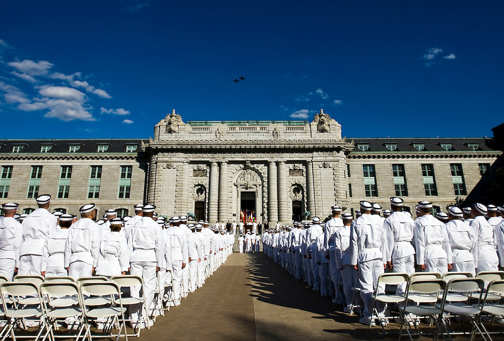 US Naval Academy Induction Day for Daniel Fallon and Cody Anderson to become officer Midshipmen plebes at the USNA in Annapolis, Maryland Thursday afternoon, July 1, 2010. This marks the beginning of plebe summer in the work white uniforms. Photo by Patrick T. Fallon