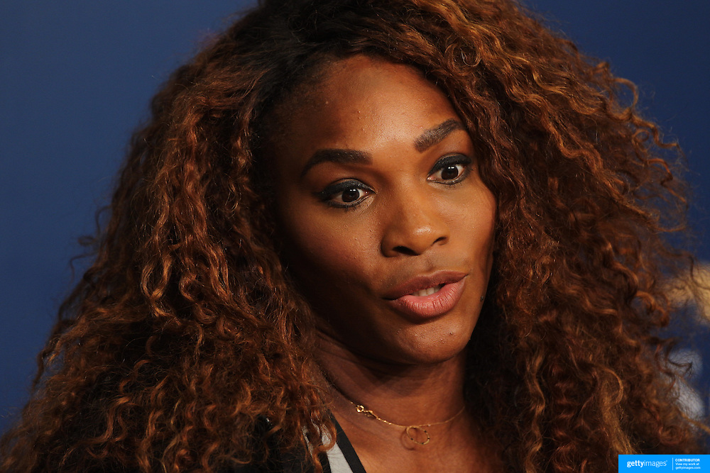 Serena Williams, USA, during a press conference at the US Open. Flushing. New York, USA. 24th August 2013. Photo Tim Clayton