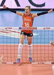 04-01-2016 TUR: European Olympic Qualification Tournament Nederland - Duitsland, Ankara <br /> De Nederlandse volleybalvrouwen hebben de eerste wedstrijd van het olympisch kwalificatietoernooi in Ankara niet kunnen winnen. Duitsland was met 3-2 te sterk (28-26, 22-25, 22-25, 25-20, 11-15) / Debby Stam-Pilon #16
