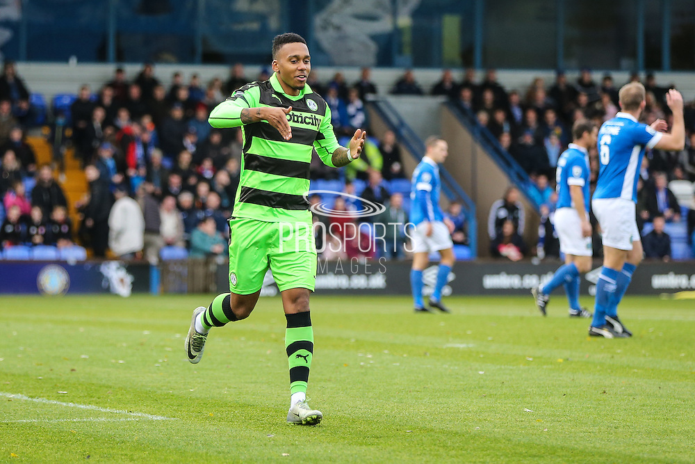 Forest Green Rovers Keanu Marsh-Brown(7) celebrates his goal, 0-1 during the Vanarama National League match between Macclesfield Town and Forest Green Rovers at Moss Rose, Macclesfield, United Kingdom on 12 November 2016. Photo by Shane Healey.