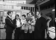 24/02/1979.02/24/1979.24th February 1979.The Lord Mayor of Cork, Cllr Brian Sloane at Dublin Airport to welcome home the group of 15 walkers who set off from Cork on December 29th. They participated in a 54 day walk to Rome in aid of charity. Pictured are Fergus Dynan, Mrs Anne Skally, Drew Skally, leader of the group, Finbar Crowley, Anne Harrison, Michael Fingleton, Chairman, Concern, and Miss Angie Murphy.