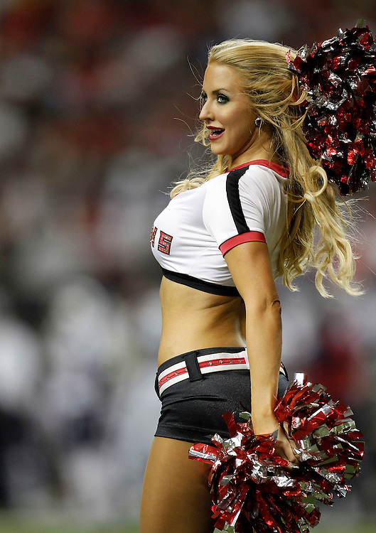 ATLANTA - AUGUST 19:  An Atlanta Falcons cheerleader performs a dance routine during the preseason game between the Atlanta Falcons and the New England Patriots at the Georgia Dome on August 19, 2010 in Atlanta, Georgia.  The Patriots beat the Falcons 28-10.  (Photo by Mike Zarrilli/Getty Images)