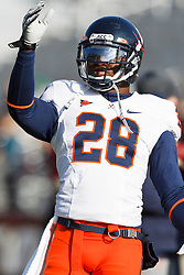 November 20, 2010; Chestnut Hill, MA, USA;  Virginia Cavaliers cornerback Devin Wallace (28) blows a kiss into the crowd before the game against the Boston College Eagles at Alumni Stadium.  Boston College defeated Virginia 17-13.