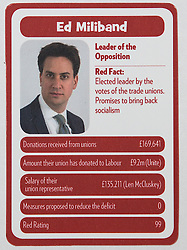 "© Licensed to London News Pictures . 29/09/2013 . Manchester , UK . Ed Miliband . "" Top Trumped by the Unions "" cards handed out at the Conservative Party Conference . The Conservative Party Conference at Manchester Central . Photo credit : Joel Goodman/LNP **FULL PACK OF 40 TRUMP CARDS AVAILABLE ON REQUEST**"