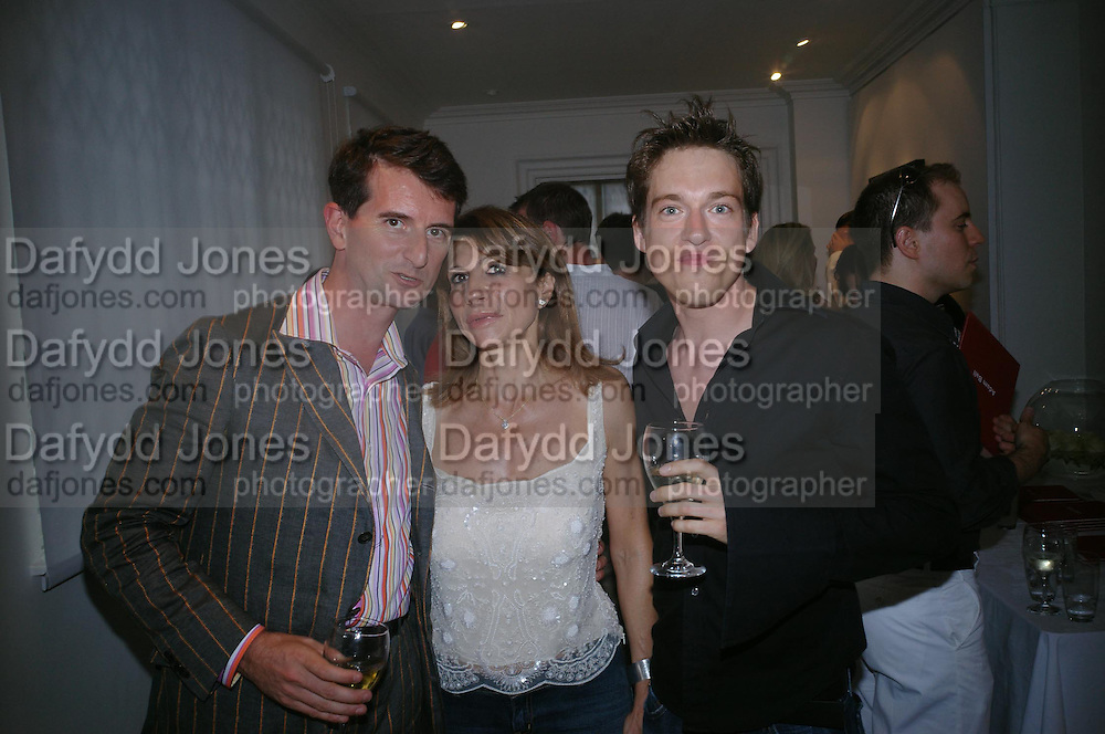 Manfredi della Gherardesca,  Patrizia Papachristidis and Adam Ball. Adam Ball ' All that Glitters' private view hosted by Manfredi della Gherardesca and Patrizia Papachristidis .  Charles St. London. 19 June 2005. ONE TIME USE ONLY - DO NOT ARCHIVE  © Copyright Photograph by Dafydd Jones 66 Stockwell Park Rd. London SW9 0DA Tel 020 7733 0108 www.dafjones.com