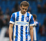 Brighton striker James Wilson looks deflated at the final whistle of the Sky Bet Championship match between Brighton and Hove Albion and Middlesbrough at the American Express Community Stadium, Brighton and Hove, England on 19 December 2015. Photo by Bennett Dean.