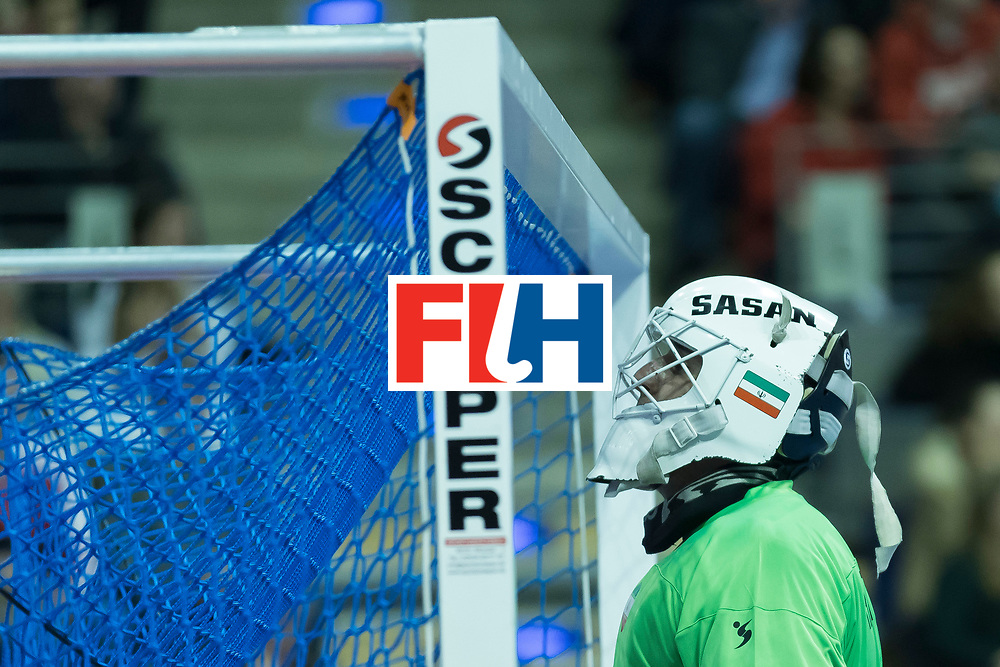 Hockey, Seizoen 2017-2018, 09-02-2018, Berlijn,  Max-Schmelling Halle, WK Zaalhockey 2018 MEN, Iran - Czech Republic 2-2 Iran Wins after shoutouts, Sasan Hataminejad (GK) .