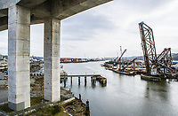 The Duwamish riverway in Seattle, Washington looking south under the West Seattle Freeway bridge.