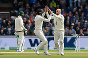 Smith repreieved - Jack Leach of England celebrates taking he thinks is the wicket of Steve Smith of Australia but Smith is not out as Leach bowled a no ball during the International Test Match 2019, fourth test, day two match between England and Australia at Old Trafford, Manchester, England on 5 September 2019.