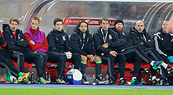 VIENNA, AUSTRIA - Thursday, October 6, 2016: Wales' Joe Allen sits on the bench after being substituted during the 2018 FIFA World Cup Qualifying Group D match against Austria at the Ernst-Happel-Stadion. (Pic by David Rawcliffe/Propaganda)