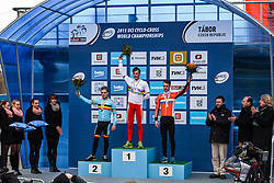 Podium: 1st Simon Andreassen (DEN), 2nd Eli Iserbyt (BEL), 3rd Max Gulickx (NED), Men Juniors, Cyclo-cross World Championships Tabor, Czech Republic, 31 January 2015, Photo by Pim Nijland / PelotonPhotos.com