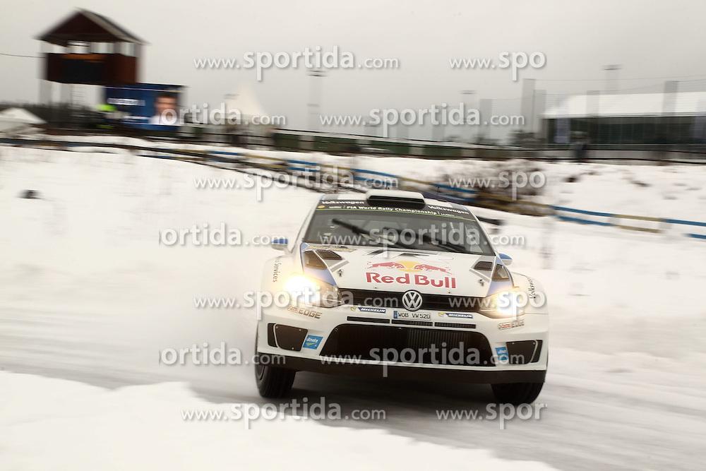 07.02.2014, Hagfors, Karlstad, SWE, FIA, WRC, Schweden Rallye, Tag 3, im Bild Sebastien Ogier/Julien Ingrassia (Volkswagen Motorsport/Polo R WRC), Action / Aktion // during Day 3 of the FIA WRC Sweden Rally at the Hagfors in Karlstad, Sweden on 2014/02/07. EXPA Pictures &copy; 2014, PhotoCredit: EXPA/ Eibner-Pressefoto/ Bermel<br /> <br /> *****ATTENTION - OUT of GER*****