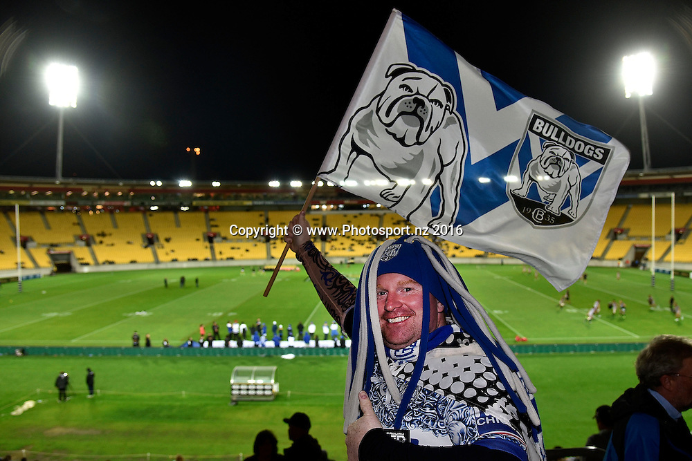 Bulldogs fans during the NRL Warriors vs Bulldogs Rugby League match at the Westpac Stadium in Wellington on Saturday the 16th of April 2016. Copyright Photo by Marty Melville / www.Photosport.nz