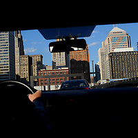 Buildings seen through a windshield in Detroit, Michigan.  Melanie Maxwell