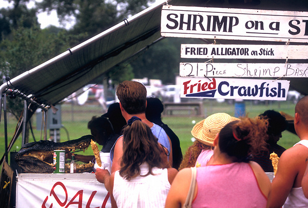 Stock photo of visitors to the Texas Gatorfest in Anhuac line up to sample dishes made from the festival's namesake.