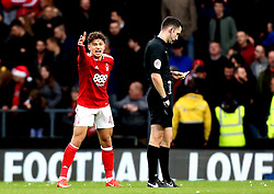 Matty Cash of Nottingham Forest agrees with the referee - Mandatory by-line: Robbie Stephenson/JMP - 11/12/2016 - FOOTBALL - iPro Stadium - Derby, England - Derby County v Nottingham Forest - Sky Bet Championship