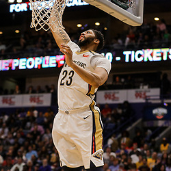Mar 22, 2018; New Orleans, LA, USA; New Orleans Pelicans forward Anthony Davis (23) dunks against the Los Angeles Lakers during the second half at the Smoothie King Center. The Pelicans defeated the Lakers 128-125. Mandatory Credit: Derick E. Hingle-USA TODAY Sports