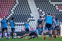 ALKMAAR - 24-08-2016, training AZ, AFAS Stadion, AZ speler Ron Vlaar, AZ speler Rens van Eijden, AZ speler Stijn Wuytens