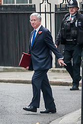 © Licensed to London News Pictures. 31/10/2017. London, UK. Defence Secretary Sir Michael Fallon walks from Number 10 Downing Street after attending a cabinet meeting. Journalist Julia Hartley-Brewer said that she rebuked Sir Michael after he put his hand on her knee during a dinner. Photo credit: Peter Macdiarmid/LNP