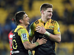 Hurricanes Otere Black, left and Jordie Barrett after their win over the Crusaders in Super Rugby match at Westpac Stadium, Wellington, New Zealand, Saturday, July 15, 2017. Credit:SNPA / Ross Setford  **NO ARCHIVING""