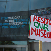 Demonstration outside The National Media Museum in Bradford, following the announcement that the museum is threatened with closure. Due to proposed cuts in central government funding, The Science  Museum Group is considering the closure of one of its northern museums, The National Railway Museum in York, The National Media Museum Bradford, and The Manchester Museum of Science and Industry.          The demonstration was organised on social media sites and attracted aproximately 200 people. The speakers were Gerry Sutcliffe, Labour MP, George Galloway, Respect MP, and Dave Green, leader of Bradford council.