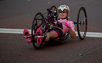 A competitors crosses the line in The Prudential RideLondon Handcycle Grand Prix. Saturday 28th July 2018<br /> <br /> Photo: Ian Walton for Prudential RideLondon<br /> <br /> Prudential RideLondon is the world's greatest festival of cycling, involving 100,000+ cyclists - from Olympic champions to a free family fun ride - riding in events over closed roads in London and Surrey over the weekend of 28th and 29th July 2018<br /> <br /> See www.PrudentialRideLondon.co.uk for more.<br /> <br /> For further information: media@londonmarathonevents.co.uk