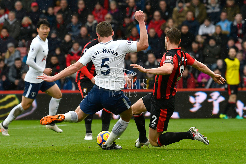 Simon Francis (2) of AFC Bournemouth tackles Jan Vertonghen (5) of Tottenham Hotspur as he shoots during the Premier League match between Bournemouth and Tottenham Hotspur at the Vitality Stadium, Bournemouth, England on 11 March 2018. Picture by Graham Hunt.