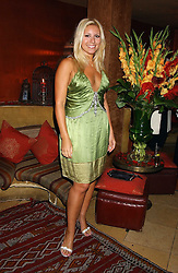 BEVERLEY BLOOM at a dinner hosted by Ayesha Makim and leading stylist Mohieb Dahabieh to celebrate the forthcoming London Fashion Week held at the exotic restaurant Levant, 76 Wigmore Street, London W1 on 8th September 2005.<br />
