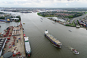 Nederland, Zuid-Holland, Rotterdam, 23-10-2013; Nieuwe Maas met motorschip Atacama, rechst toerit Beneluxtunnel.<br /> Motor vessel (mv) Atacama (general cargo) on river New Meuse.<br /> luchtfoto (toeslag op standaard tarieven);<br /> aerial photo (additional fee required);<br /> copyright foto/photo Siebe Swart.