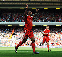 Ryan Babel Celebrates Scoring 2nd Goal<br /> Liverpool 2008/09<br /> Liverpool V Manchester United (2-1) 13/09/08<br /> The Barclays Premier League<br /> Photo Robin Parker Fotosports International