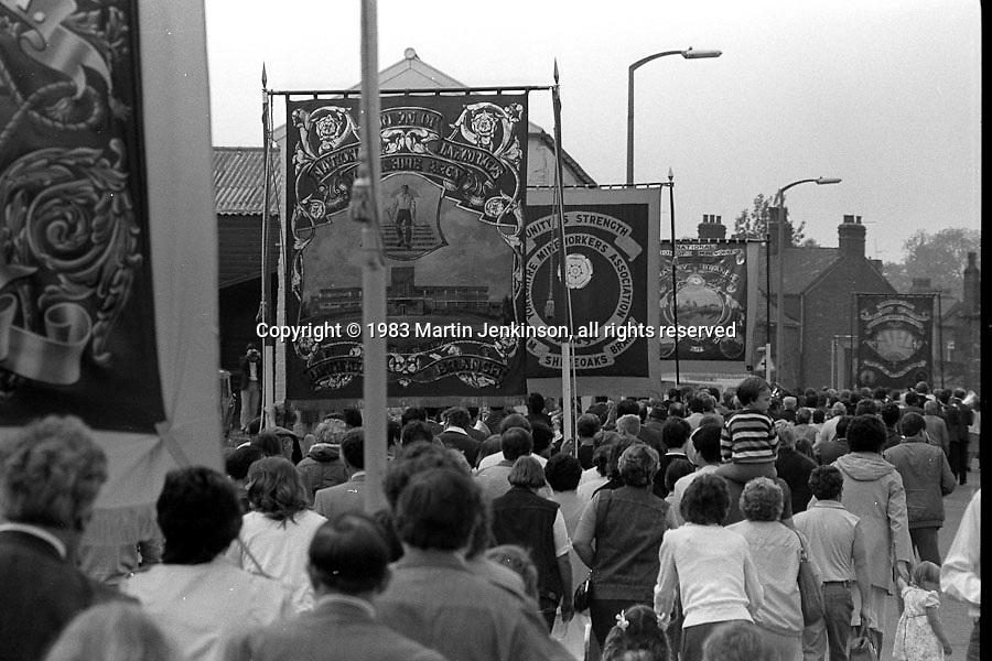Dinnigton, Shireoaks and Maltby banners, 1983 Yorkshire Miner's Gala. Barnsley