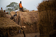 Boys build a hut to protect themselves from the elements. They have recieved little outside help.