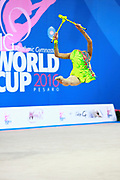 Kosoulieva Angela of Poland competes during the rhythmic gymnastics individual clubs qualification of the World Cup at Adriatic Arena on April 2, 2016 in Pesaro, Italy.<br /> Angela was born in Gdynia in Poland in 1999.