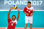 Katowice, Poland - 2017 September 02: (L) Partner Mirashaf Rzazade from SO Azerbaijan receives the ball while SO Azerbaijan versus SO Finland match during European Unified Volleyball Tournament 2017 at Spodek Hall on September 02, 2017 in Katowice, Poland.<br /> <br /> Adam Nurkiewicz declares that he has no rights to the image of people at the photographs of his authorship.<br /> <br /> Picture also available in RAW (NEF) or TIFF format on special request.<br /> <br /> Any editorial, commercial or promotional use requires written permission from the author of image.<br /> <br /> Image can be used in the press when the method of use and the signature does not hurt people on the picture.<br /> <br /> Mandatory credit:<br /> Photo by &copy; Adam Nurkiewicz / Mediasport