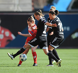 Bristol Academy's Nikki Watts attempts to clear the ball under pressure - Photo mandatory by-line: Dougie Allward/JMP - Mobile: 07966 386802 - 21/03/2015 - SPORT - Football - Bristol - Ashton Gate Stadium - Bristol Academy v FFC Frankfurt - UEFA Women's Champions League - Quarter Final - First Leg