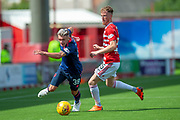 Callum Morrison of Heart of Midlothian breaks clear of Sam Kelly of Hamilton Academical FC during the Ladbrokes Scottish Premiership League match between Hamilton Academical FC and Heart of Midlothian FC at New Douglas Park, Hamilton, Scotland on 4 August 2018. Picture by Malcolm Mackenzie.