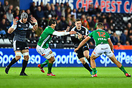 George North of Ospreys on the attack<br /> <br /> Photographer Craig Thomas/Replay Images<br /> <br /> Guinness PRO14 Round 4 - Ospreys v Benetton Treviso - Saturday 22nd September 2018 - Liberty Stadium - Swansea<br /> <br /> World Copyright &copy; Replay Images . All rights reserved. info@replayimages.co.uk - http://replayimages.co.uk