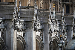 © Licensed to London News Pictures. 08/09/2016. London, UK. Water and weather damage is visible on stonework and carvings at Parliament.  A Parliamentary committee is recommending that MPs and Peers move out to enable much needed repairs to the crumbling infrastructure of the Medieval and Victorian Palace of Westminster. Photo credit: Peter Macdiarmid/LNP