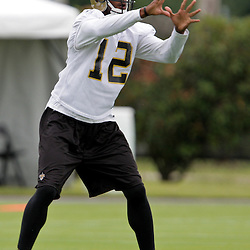 05 June 2009: Saints receiver Marques Colston (12) participates in drills during the New Orleans Saints Minicamp held at the team's practice facility in Metairie, Louisiana.