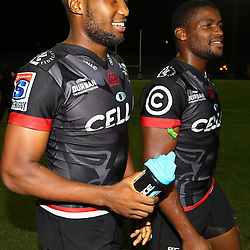 Lukhanyo Am of the Cell C Sharks with S'bura Sithole of the Cell C Sharks during The Cell C Sharks Pre Season warm up game 2 Cell C Sharks A and Toyota Cheetahs A,at King Zwelithini Stadium, Umlazi, Durban, South Africa. Friday, 3rd February 2017 (Photo by Steve Haag)