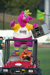 11 August 2012:  The Purple Party Dude re-enters the stadium atop the mule with his boom box in hand during a Frontier League Baseball game between the River City Rascals and the Normal CornBelters at Corn Crib Stadium on the campus of Heartland Community College in Normal Illinois.  The CornBelters take this game in 9 innings 7 - 2 with a 5 run 2nd inning.