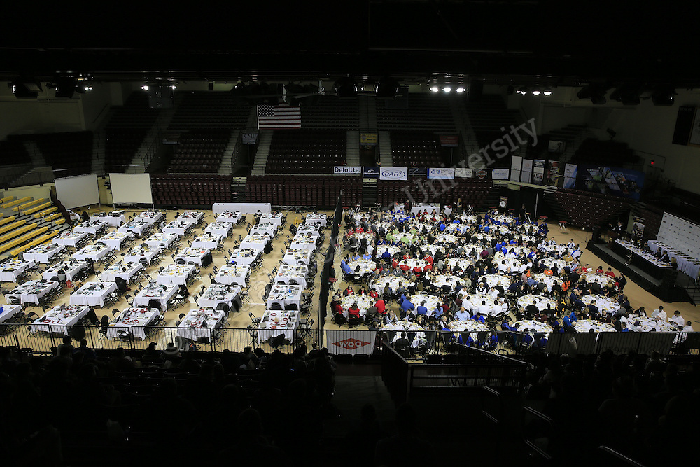 More than 200 students and 70 executives from 35 major companies filled McGuirk Arena for CMU&rsquo;s annual ERPsim &mdash; a simulated business competition where students vie for scholarships and on-the-spot job offers based on their performance using SAP business software. CMU is a world leader in SAP certification, which helps top companies around the globe run more efficiently and gain a competitive edge.<br /> Students also heard from a panel of senior executives from six companies on topics ranging from data security to career advice.. Photos by Steve Jessmore/Central Michigan University