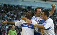 Photo: Aidan Ellis.<br /> Sheffield United v Middlesbrough. The Barclays Premiership. 30/09/2006.<br /> Boro's Yakubu celebrates his goal with Mark Viduka and Staurt Downing