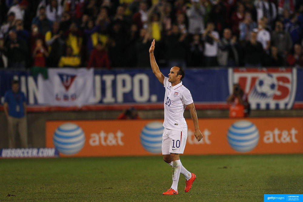 Landon Donovan, USA, after he is substituted during his farewell match during the USA Vs Ecuador International match at Rentschler Field, Hartford, Connecticut. USA. 10th October 2014. Photo Tim Clayton