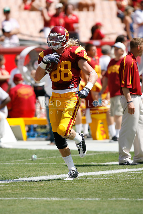 September 5, 2009:  USC Southern Cal wide receiver Blake Ayles warms up before the Trojans 56-3 win over the San Jose State Trojans at the L.A. Coliseum in Los Angeles, CA.