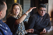 NITV National indigenous Television. Tanya Denning the Station Mananger of NITV listens during a sports department development meeting, Rugby Union great Mark Ella and head of sport ..rear listens on.