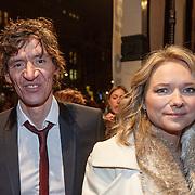 NLD/Amsterdam/20160311 - Inloop Boekenbal 2016,Peter Buwalda en partner Suzanne Rethans