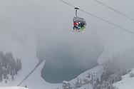Friends on a chiarlft, Skiing, Kuhtai, Tirol, Austria
